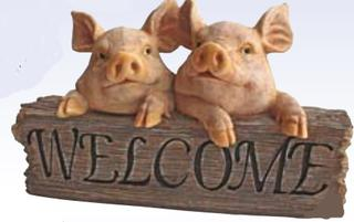 Two Pigs Welcome Sign