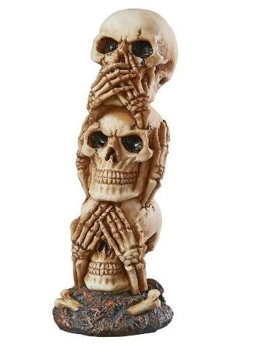 See No, Hear No, Speak No Evil Skulls Totem statue
